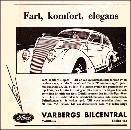 Varbergs Bilcentral - annons från 1937